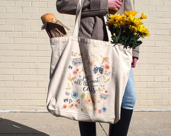 Large Tote Bag: I Just Want All the Cats, Pretty + Paper