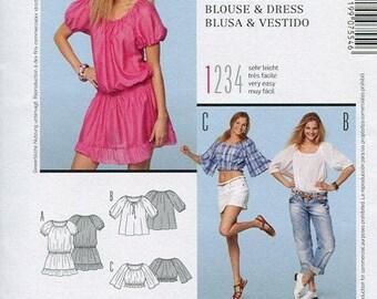 FREE US SHIP Burda 7554 Cute Flirty Peasant Midriff Tops Old Store Stock Size 10/20 Bust 32 34 36 38 40 42 Sewing Pattern