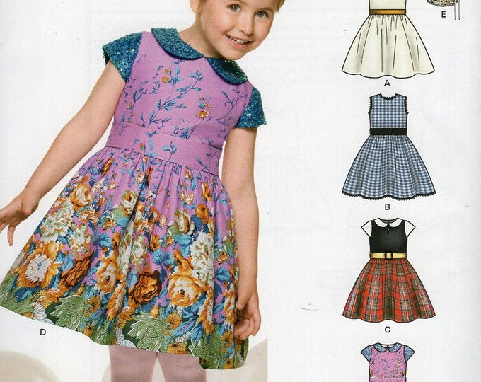 Free Us Ship Sewing Pattern Kids New Look 6335 Girls Dress Detachable Collar Out of Print New Size 3 4 5 6 7 8
