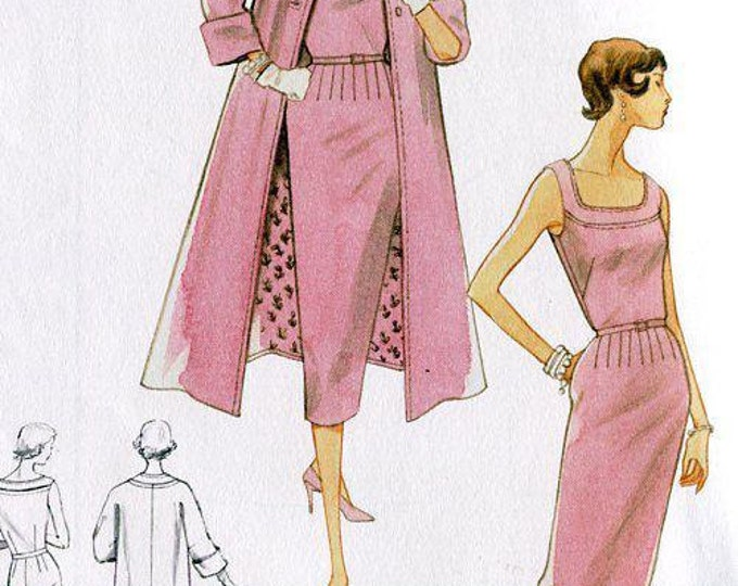 FREE US SHIP Vogue 8687 Vintage Retro 1950's 50's 1954 Sewing Pattern 1952 Dress Coat Ensemble Reproduction 8 10 12 14 Bust 31 32 34 36