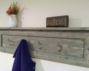 Rustic Coat Rack, Coat Hanger, Wall Shelf, Rustic Coat Shelf, Coat Hooks, Rustic Coat Hook, Rustic Shelf