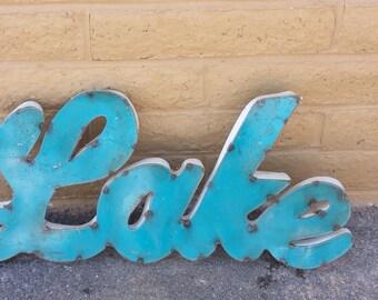 Rustic Metal Lake Sign