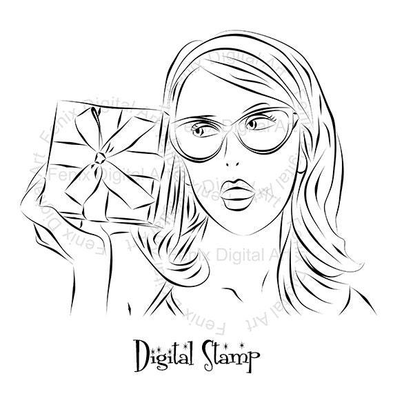 Digital Stamp,Clipart,Line art,Pin up Lady portrait,Pin up Girl graphics,Digi stamp,digistamp,fashion Illustration INSTANT DOWNLOAD