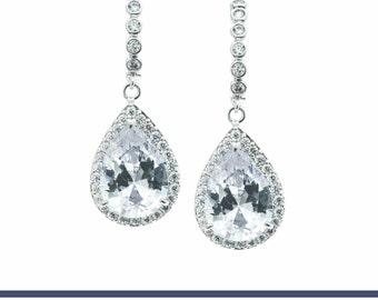 Drop Dangle Earring Bridal Earring Crystal Earrings CZ Earring Cubic Zirconia Bridal Jewelry Wedding Earring Wedding Gift Mother's Day Gift