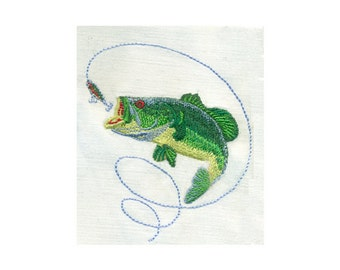 "3.5""T BASS Fish and Lure - Fishing Outdoor Sports Embroidery Design - Instant Digital Download"