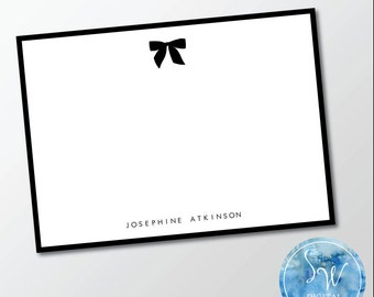 Preppy Bow Personalized Stationery Note Card | SW Digital Designs