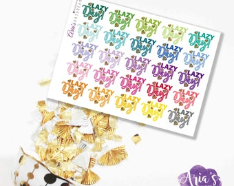 Lazy Day - Fun Colorful Words, Glitter Hearts - 25 stickers, 1 sheet - Perfect for use in any planners such as ECLP