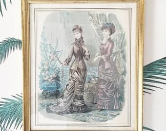 Illustration Print. Gold Frame. Antique Fashion Illustration. Art Print. French Engraving. French Country. French Fashion. French Vintage
