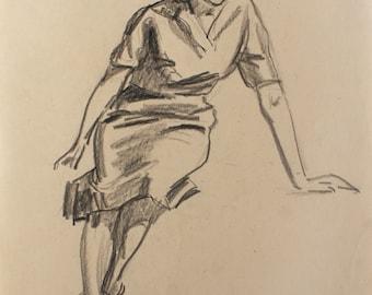 VINTAGE ORIGINAL DRAWING by Fiegin L. 1960's Female Figure, Handmade Signed Artwork, One of a kind, European Art, Female Portrait