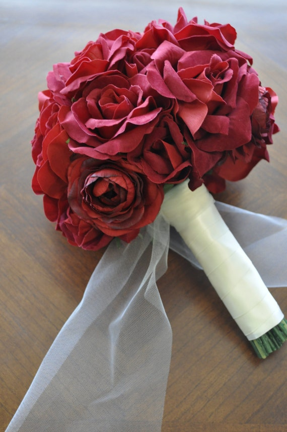 Red Rose Wedding Bouquet Artificial Flowers SALE