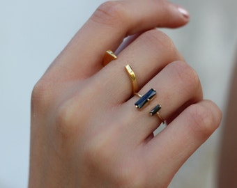 open bar ring - black bar ring- Tiny gold bar ring  - open ring - open bar ring - Simple gold ring - Minimal jewelry - black zircon
