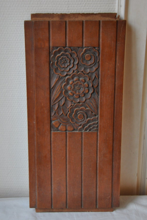 Antique Wood Paneling: 1930s Art Deco Carved Wood Panel Wooden Panel Antique Hand