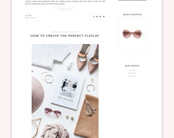 "Responsive Wordpress Theme ""The Pink"" feminine Blog Design - Beauty Wordpress Theme - Wordpress Website for Fashion and Beauty Bloggers"