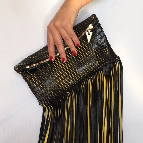 Rock Leather Clutch with Fringes Black Leather Net Yellow Envelop Small Medium Special Evening OLA Olaccessories FREE SHIPPING