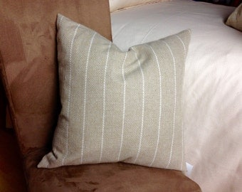"DESIGNER PILLOWS - ""COTTAGE"" - 20 x 20 or 12x16 Throw pillow cover cushion Taupe with white stripes pattern"