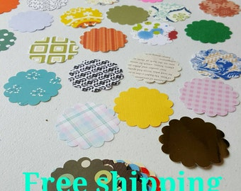 50 flower cutouts. Different colors and paper thickness. Flower die cuts. Free shipping.
