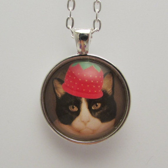 Cat in strawberry hat photo pendant cat by fionasforgetmenots for Cat in the hat jewelry
