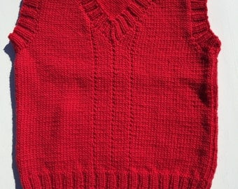 Size 2 100% merino wool hand knitted child's vest