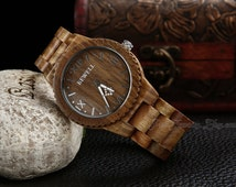 Mens Wood Watches Roman Wooden Wristwatch Green Sandalwood Eco-friendly Awesome Unique Man Wood Watch Wedding Groomsmans Watch Gift for him