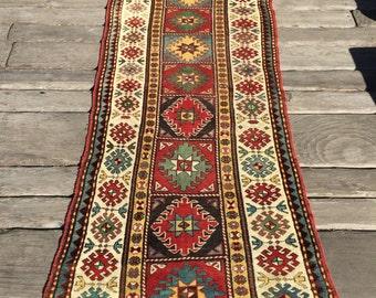 Antique Caucasian Rug C.1880 Kazak Gendje Karabagh 3x9
