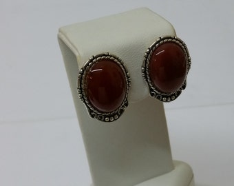 Vintage Silver earrings with red agate SO179