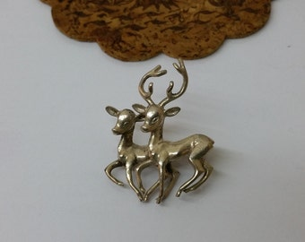 Brooch silver 835 deer costume jewelry old SB206