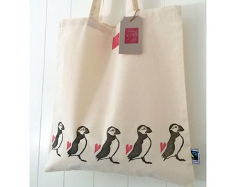 Handprinted Puffin and Hearts Fairtrade Cotton Tote