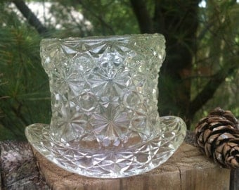 Fenton top hat Vintage clear glass hat collectible 1960's mid century retro glass hat