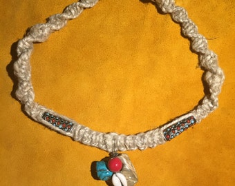 Turquoise and Shell Hemp Necklace