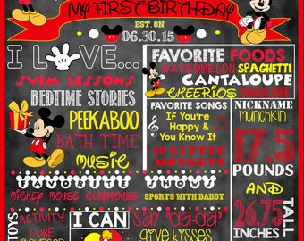 "Mickey Mouse Birthday Stat ""Chalkboard"" (digital poster)"