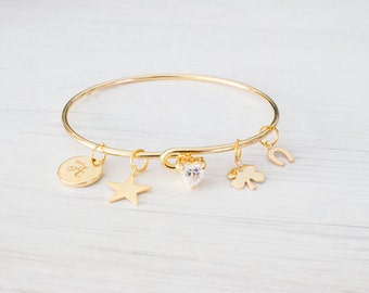 Personalized Gold Lucky Charm Bracelet, Horseshoe Clover Bangle four leaf Charm Bracelets. Gift for her, Valentines day Birthday Gifts