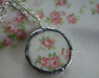 Broken china jewelry - broken china pendant necklace- pink roses round pendant necklace- vintage china necklace