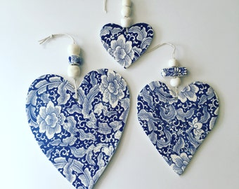 Hampton Style, blue & white, heart, wall hanging, floral prints, ceramic, handmade beads, Wedding gifts, Mother's Day, Made in Australia
