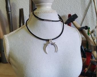 Silver viking lunula pendant, handmade