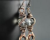 Copper Wire Wrapped Earrings- Crystal Dangle Earrings- Boho Earrings- Crystal Earrings- Copper Wire Wrapped Jewelry- Steampunk Earrings