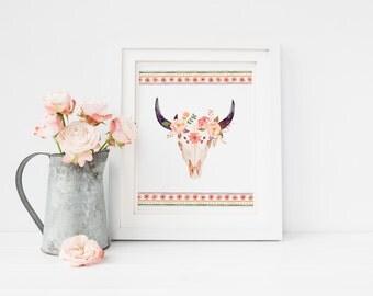 PRINTABLE Art Tribal Floral Bull skull, Bullhead print, Tribal nursery decor, Boho wall art, skull printable, boho decor, watercolor skull