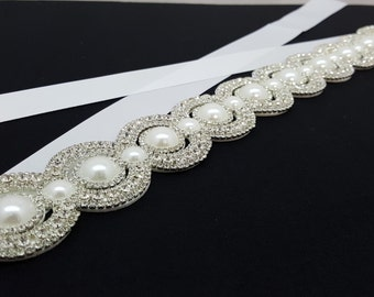 ON SALE Elegant Bridal Sash with Rhinestones and Pearls Ribbon Tie