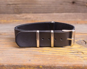 18mm Black PU leather nato-style strap