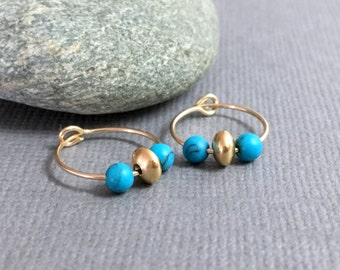 Gold hoops, Turquoise hoop earrings, Gold Bohemian Hoop Earrings, Everyday earrings, Small Gold Hoop Earrings, Turquoise and gold jewelry