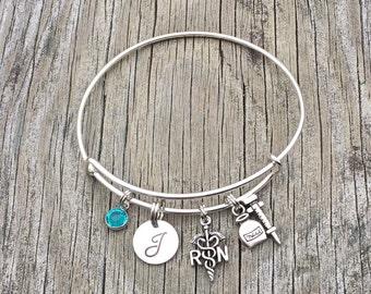 Nurse Gift -  RN - Graduation Gifts for Nursing Student - Personalized Nurses Appreciation Week - Initial bracelet - Nursing
