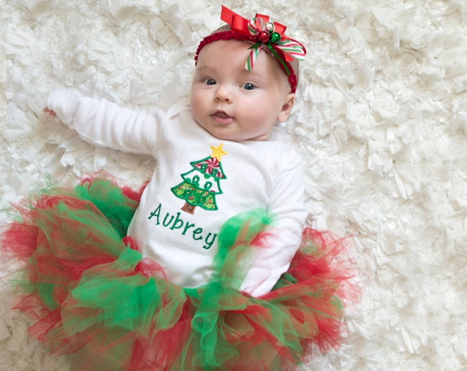 Babys Christmas outfit,Red and green christmas outfit, girls christmas outfit, Personalized christmas tree shirt,Christmas tutu
