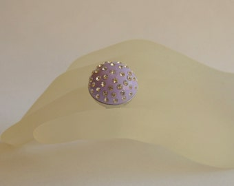 Purple ring made from polymer CLAY with white Crystal chatons