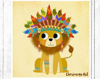 Tribal Lion Print Kids Room Art Nursery Wall Art Nursery Decor Animal Art Lion Art Print Toddler Gift Illustration gift for kids baby Shower