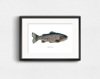 Rainbow Trout Art Print | Watercolor Art | Fishing and Nature | Fish Lovers | Wall Decor | 8x10