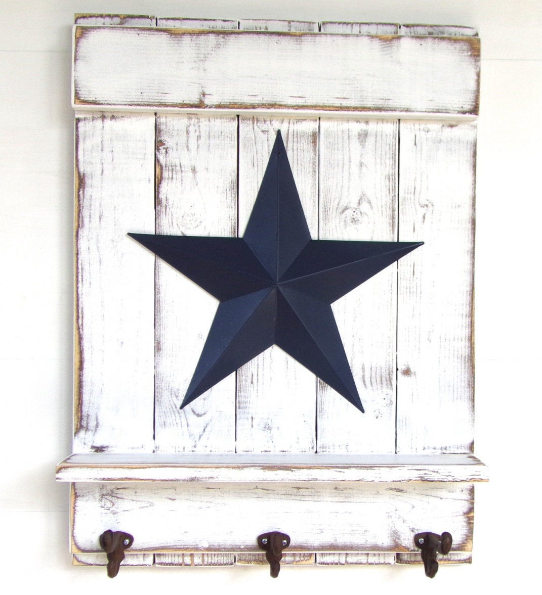 star shelf with hooks distressed white wood by applefarmcreations. Black Bedroom Furniture Sets. Home Design Ideas