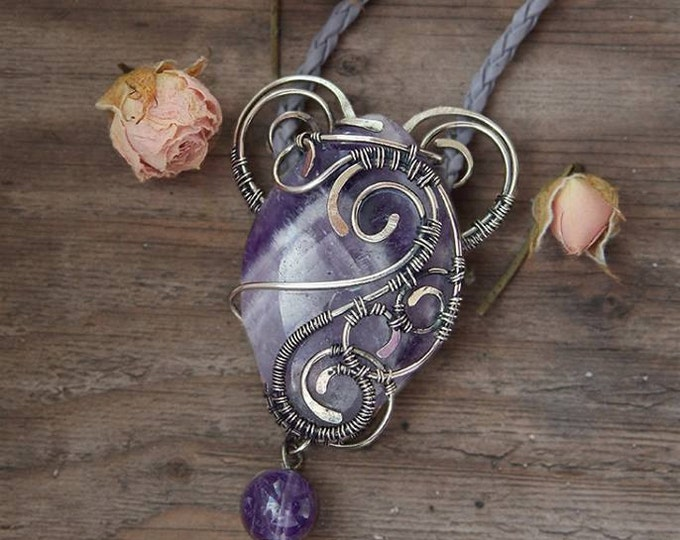 Amethyst pendant, nickel silver wire wrap, Romantic gift for her,heart-shaped, Boho style, Heart pendant, Natural purple stone, Birthstone
