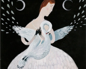 Anna Saint of Swans - limited edition giclee fine art fairy tale print illustration Anna Pavlova ballerina moon phases witchy art decor