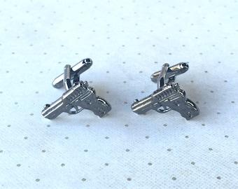 Gun Pistol Cufflinks Cuff Links in Dark Grey