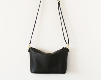 Ships next day Gold hardware black leather crossbody bag with zipper
