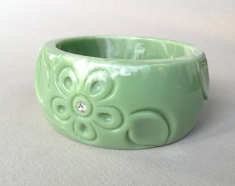 New Price* Celadon Carved Lucite Bangle Bracelet